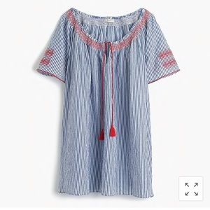 JCrew Embroidered tie front tunic